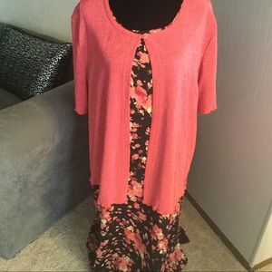Black & Coral Maxi Dress With Top